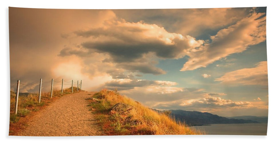 Clouds Bath Towel featuring the photograph The Cloud Path by Tara Turner