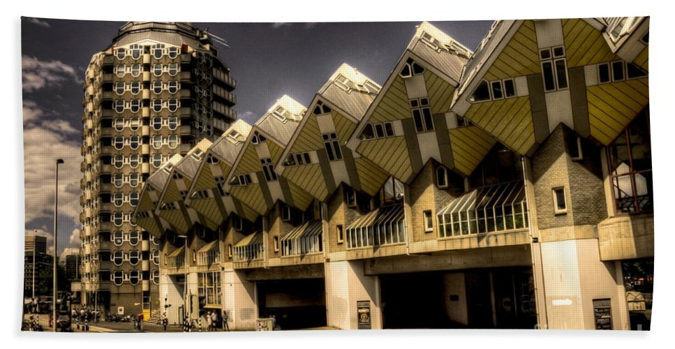 Rotterdam Bath Sheet featuring the photograph The Cube House by Rob Hawkins