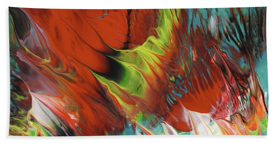 Abstract Bath Sheet featuring the painting The Dance by Miki De Goodaboom