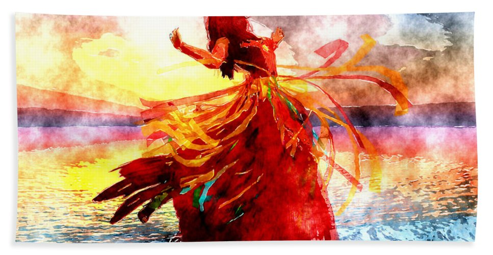 Digital Art Bath Sheet featuring the digital art The Dancer by Amanda Moore