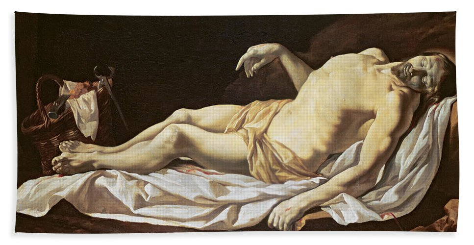The Dead Christ Bath Sheet featuring the painting The Dead Christ by Charles Le Brun