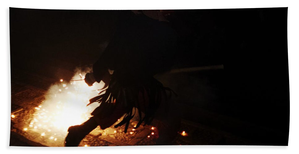 Fuego Bath Sheet featuring the photograph The Devil Of The Stairs by Agusti Pardo Rossello
