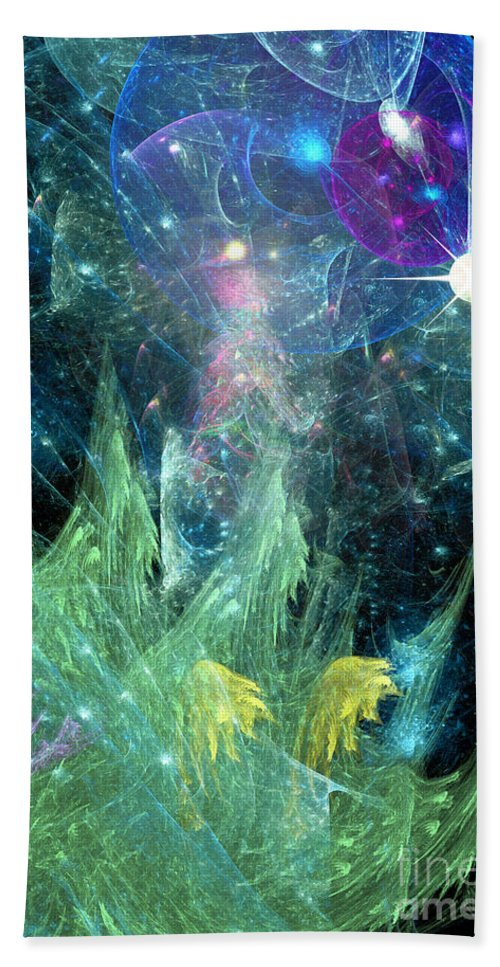 Abstract Hand Towel featuring the digital art The Egregious Christmas Tree 1 by Russell Kightley