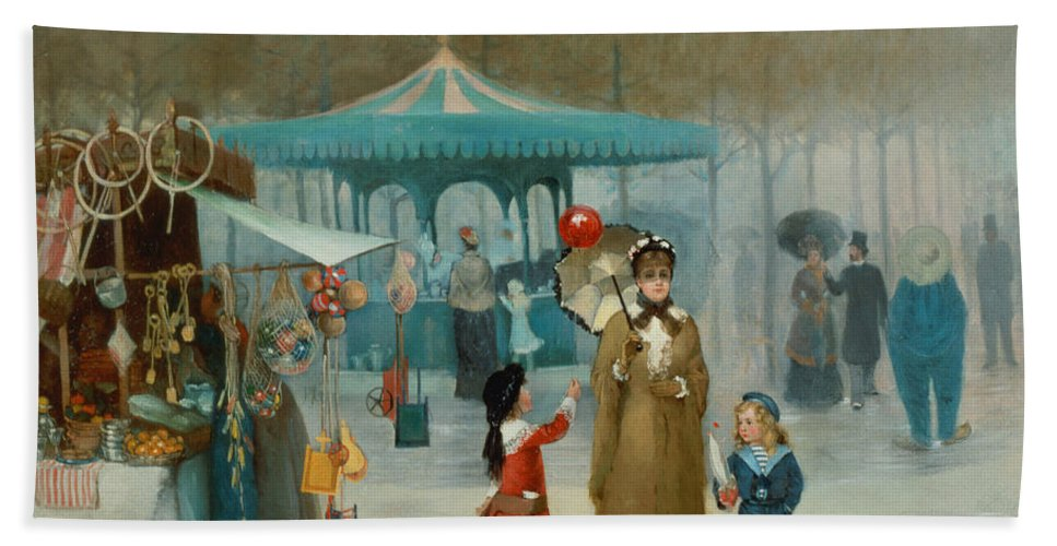 The Bath Sheet featuring the painting The Fairground by Henry Jones Thaddeus