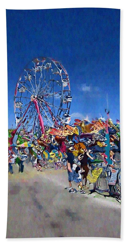 Amusement Park Bath Sheet featuring the photograph The Ferris Wheel At The Fair by Mario Carini