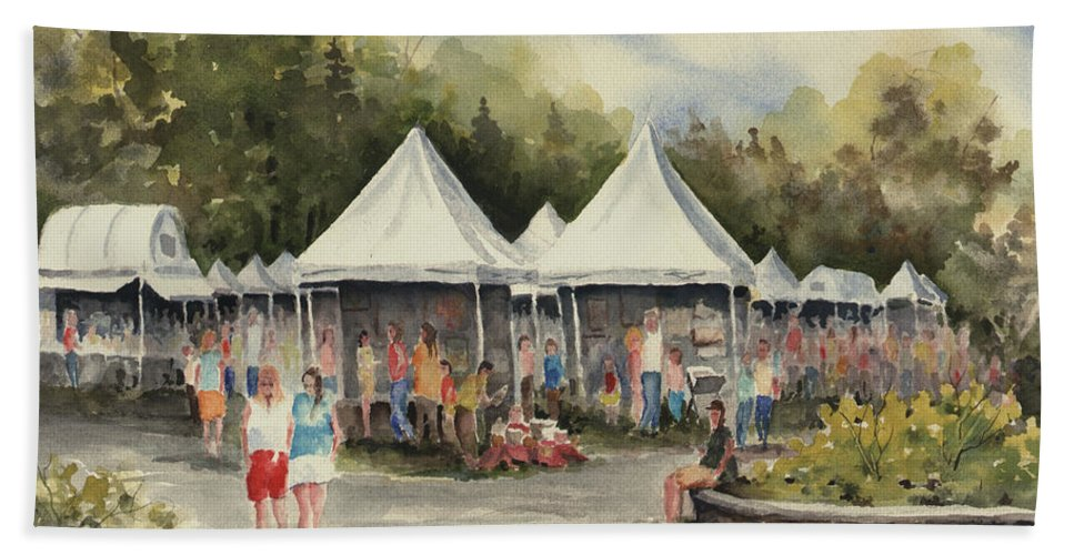 Festival Bath Sheet featuring the painting The Festival by Sam Sidders