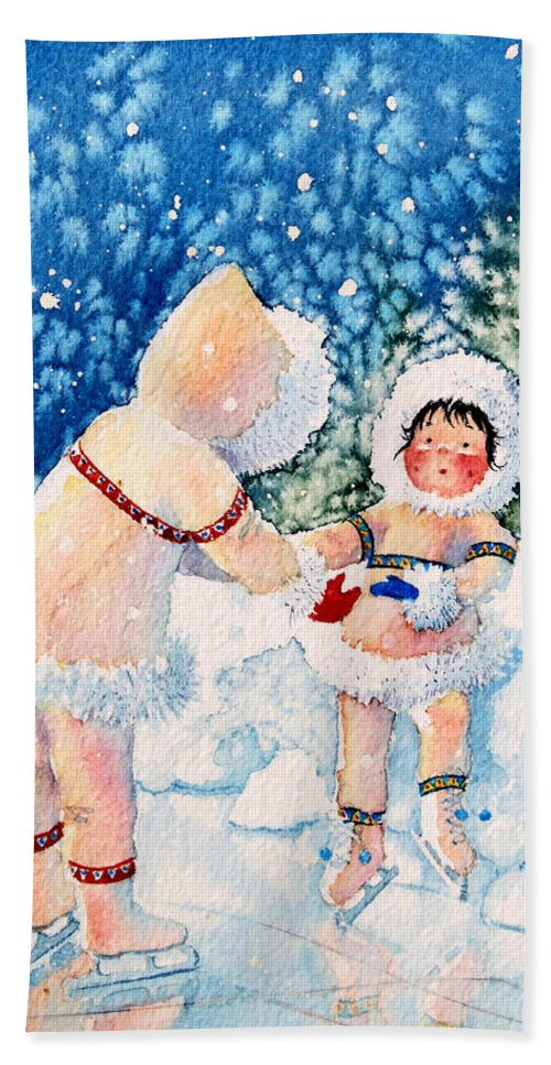Childrens Book Illustrator Hand Towel featuring the painting The Figure Skater 2 by Hanne Lore Koehler