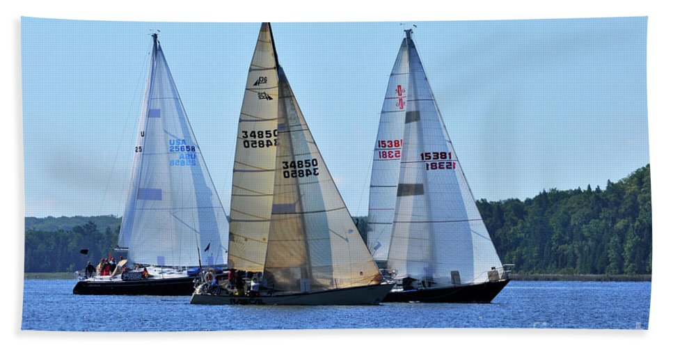 Sail Boats Hand Towel featuring the photograph The Finish Line by Ronald Grogan