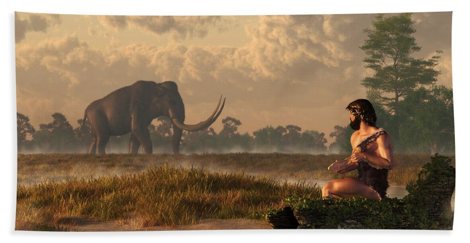 Mammoth Hand Towel featuring the digital art The First American Wildlife Artist by Daniel Eskridge