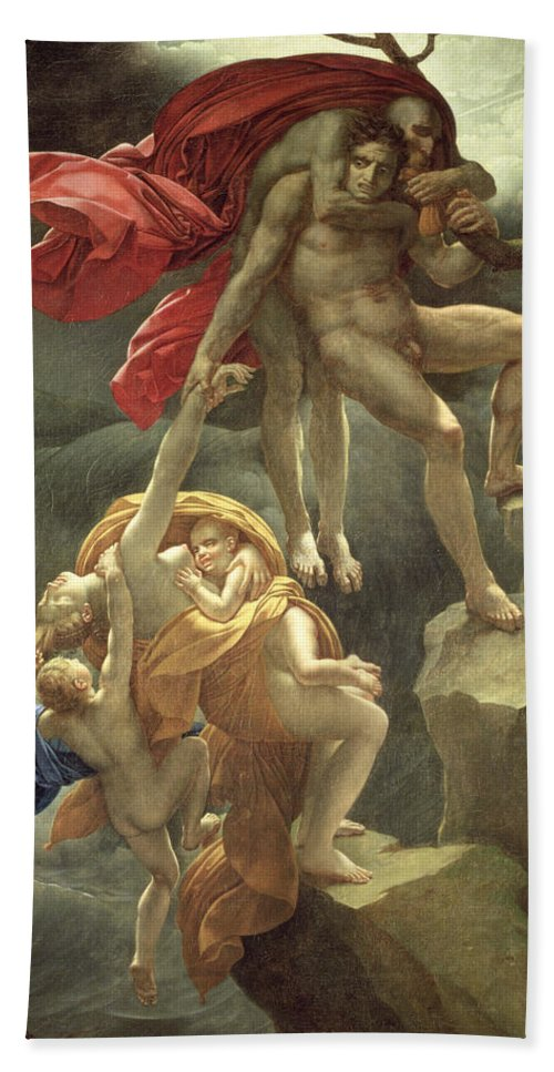 Family; Clinging; Naked; Desperate; Mother; Girodet; Children; Rescue; Inondation Bath Sheet featuring the painting The Flood by Anne Louis Girodet de Roucy-Trioson