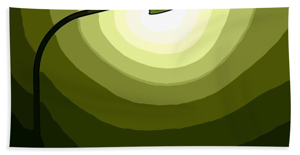 Laterne Lamp Lantern Lamp-post Light Shine Modern Oil Painting Darkness Shadow Energy Abstract Beam Ray Halo Flash Reflactor Simply Simplicity Green White Plain Grass Field Color Colorful  Bath Sheet featuring the digital art The Future Is Green by Steve K
