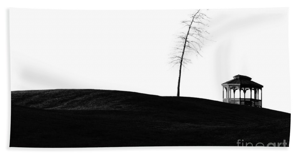 Golf Course Hand Towel featuring the photograph The Gazebo Bw by Mike Nellums