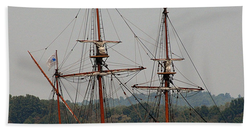 All Rights Reserved Bath Sheet featuring the photograph The God Speed Tall Ship by Clayton Bruster