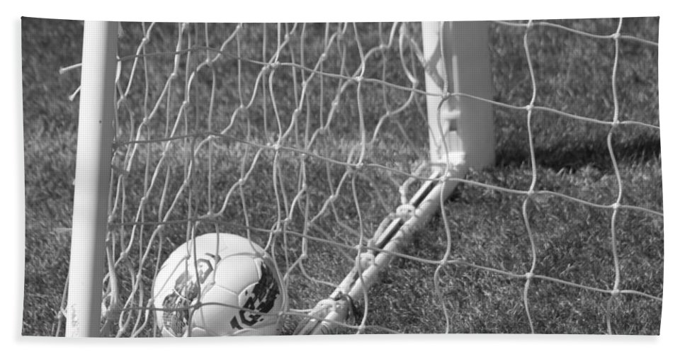 Soccer Hand Towel featuring the photograph The Golden Goal by Laddie Halupa