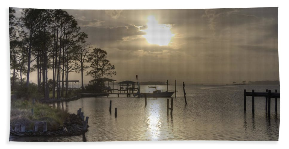 Bay Hand Towel featuring the photograph The Golden Hour by David Troxel
