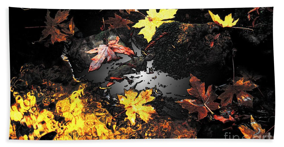Leaves Hand Towel featuring the photograph The Golden Leaves by Mike Nellums