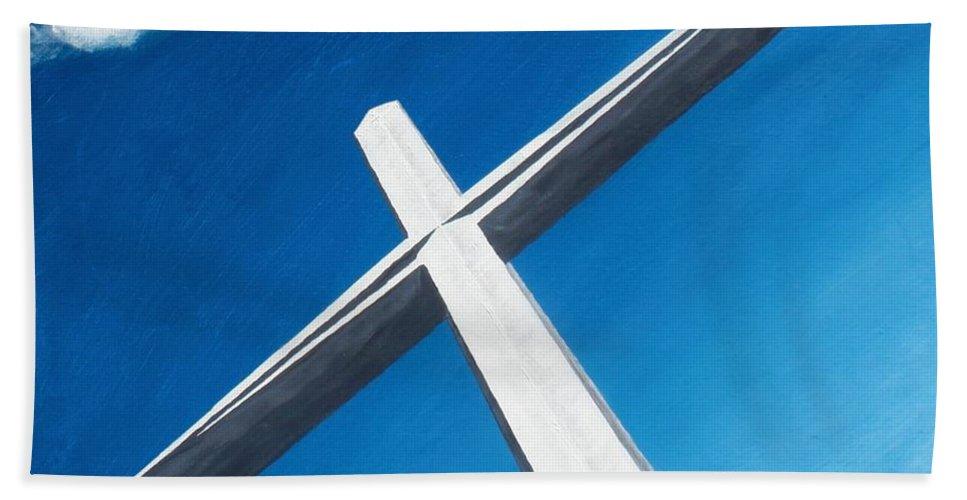 Cross Bath Sheet featuring the painting The Great Cross - Resurrection by Kelvin Kelley