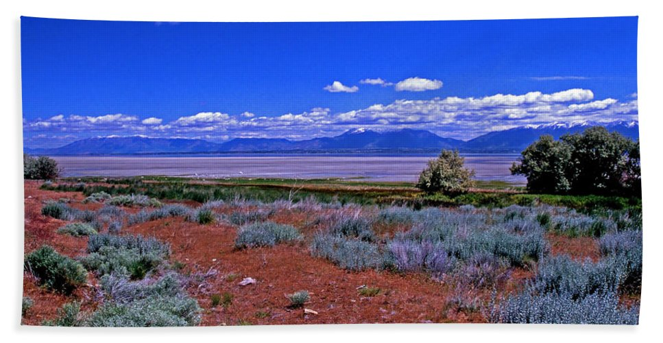 Utah Bath Sheet featuring the photograph The Great Salt Lake From Antelope Island by Rich Walter