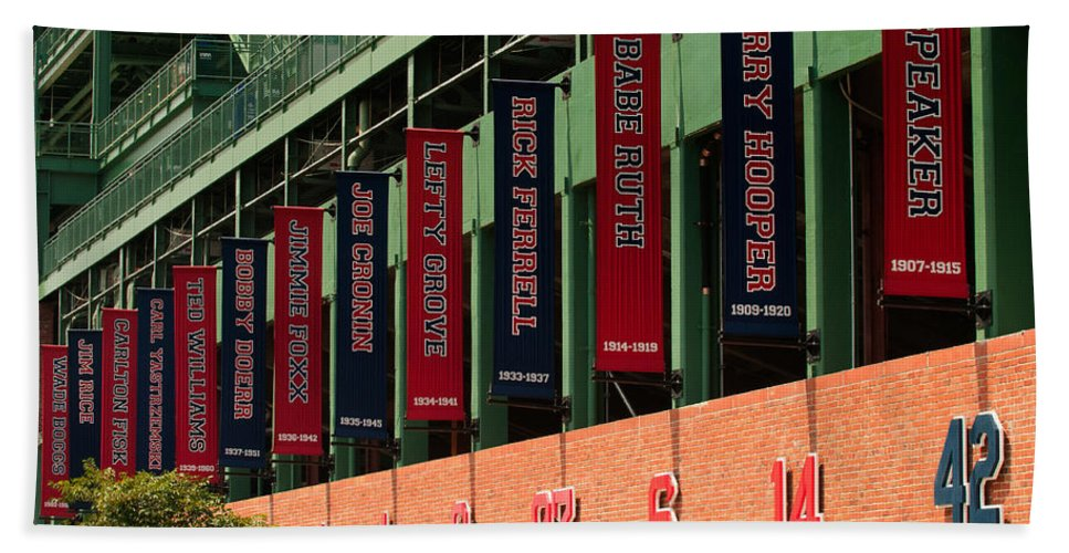 Fenway Park Bath Sheet featuring the photograph The Greats by Paul Mangold