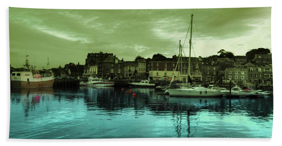 Harbour Hand Towel featuring the photograph The Harbour At Padstow by Rob Hawkins