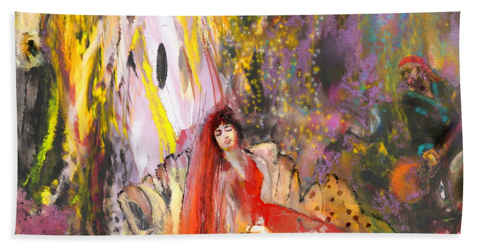 Fantasy Hand Towel featuring the painting The Harem by Miki De Goodaboom
