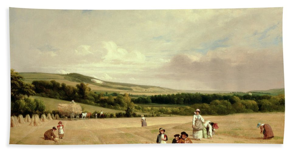The Harvest Field Bath Sheet featuring the painting The Harvest Field by William Frederick Witherington