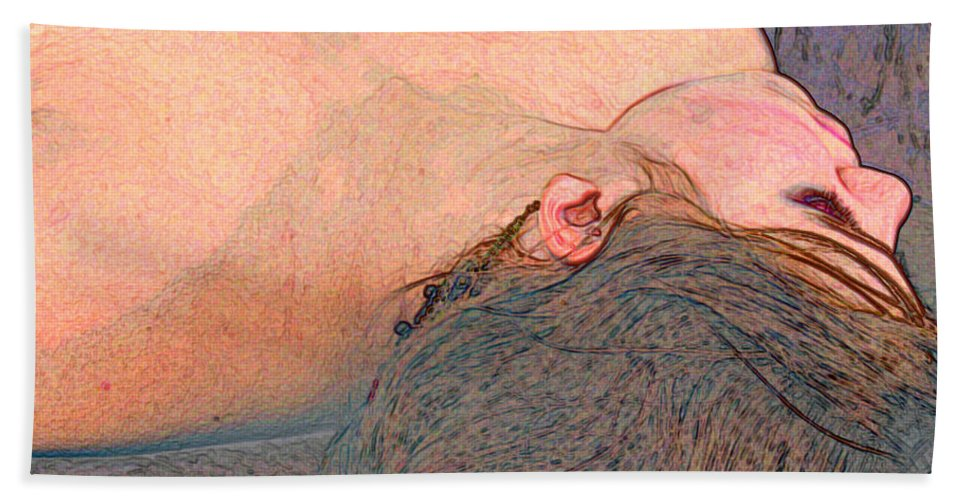 Pink Bath Sheet featuring the digital art The Heart Of The Matter by Peggy Starks