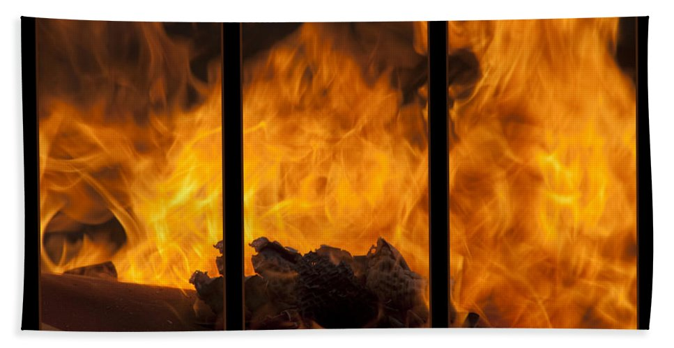 Triptych Bath Sheet featuring the photograph The Home Fires Are Burning Triptych by Kathy Clark