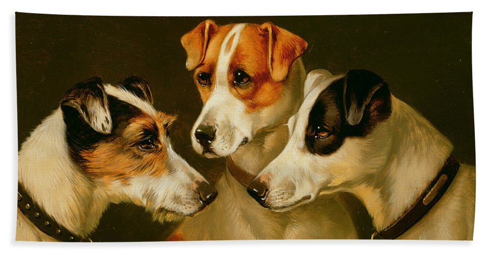 Dog Bath Towel featuring the painting The Hounds by Alfred Wheeler