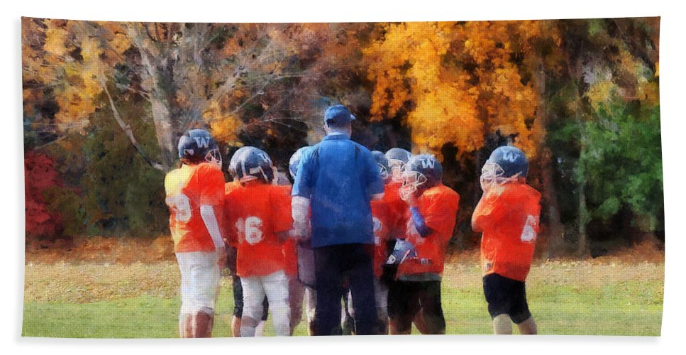 Football Bath Sheet featuring the photograph The Huddle by Susan Savad