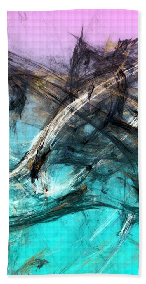 Abstract Bath Sheet featuring the digital art The Hunt by David Lane