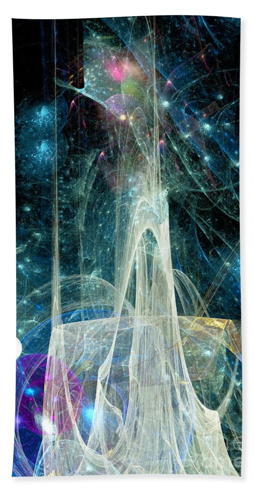 Abstract Hand Towel featuring the digital art The Ice Castle 1 by Russell Kightley