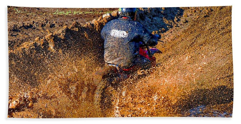Honda Cr250 Bath Sheet featuring the photograph The Joy Of Mud by Steve Harrington