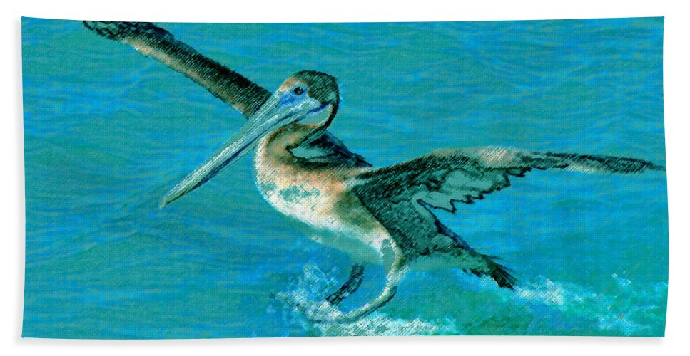 Art Bath Sheet featuring the painting The Landing by David Lee Thompson