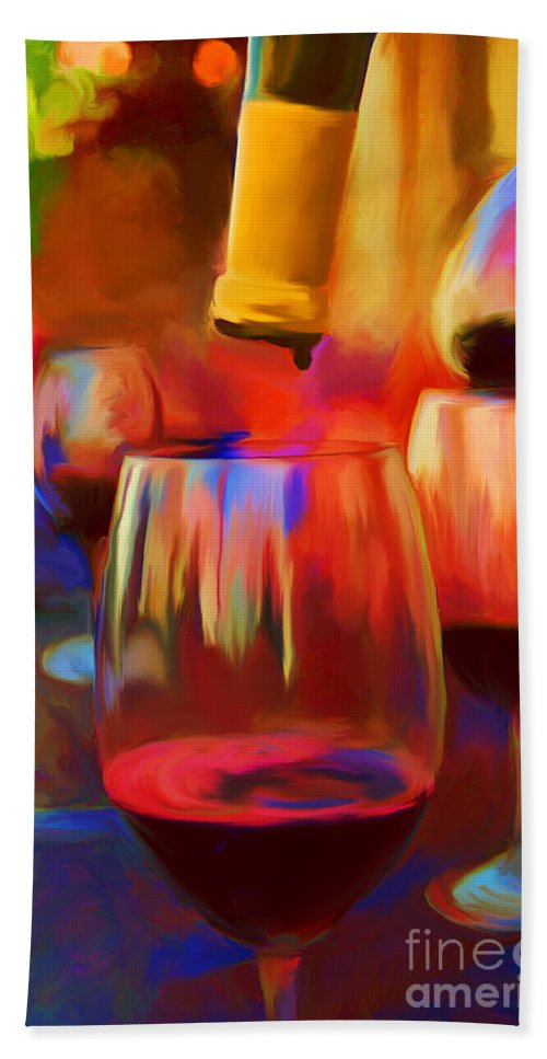 Wine Hand Towel featuring the painting The Last Drop by Carolyn Schneider
