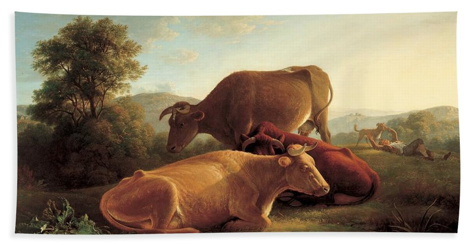 Farm Hand Towel featuring the painting The Last Gleam Of The Setting Sun by John Glover