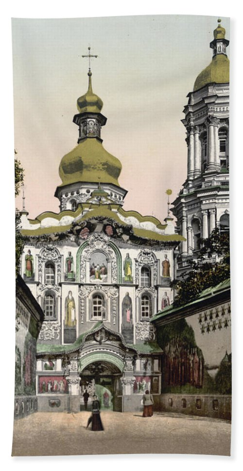Lavra Hand Towel featuring the photograph The Lavra Gate - Kiev - Ukraine - Ca 1900 by International Images