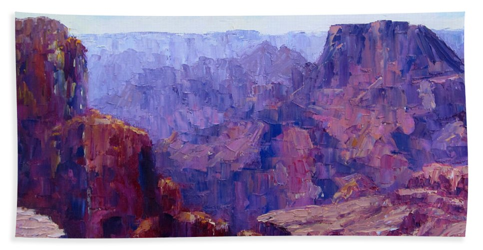 Grand Canyon Bath Sheet featuring the painting The Ledge by Terry Chacon