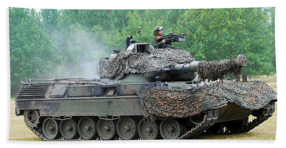 Military Bath Sheet featuring the photograph The Leopard 1a5 Main Battle Tank by Luc De Jaeger
