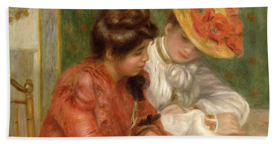 The Letter Bath Sheet featuring the painting The Letter by Pierre Auguste Renoir