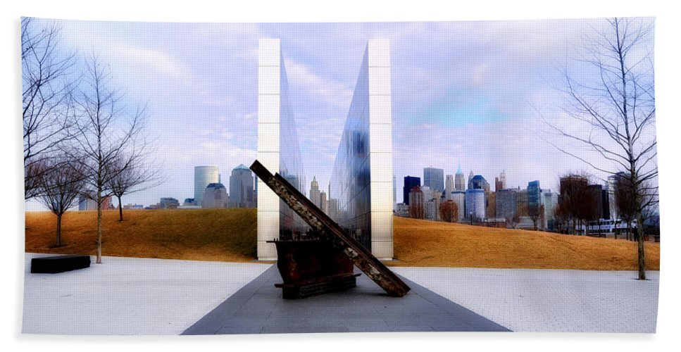 The Liberty State Park 911 Memorial Bath Sheet featuring the photograph The Liberty State Park 911 Memorial by Bill Cannon