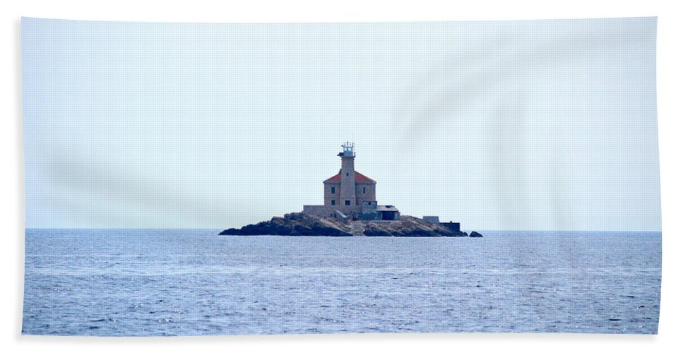 2012 Hand Towel featuring the photograph The Lighthouse Close To Primosten by Jouko Lehto