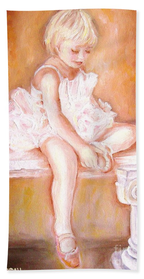 Ballerinas Hand Towel featuring the painting The Little Ballerina by Carole Spandau