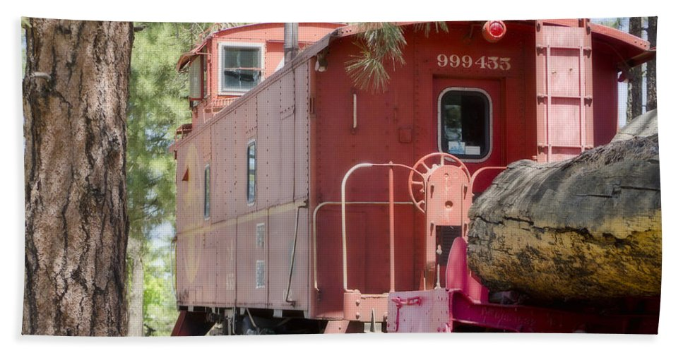 Fine Art Bath Sheet featuring the photograph The Little Red Caboose by Donna Greene