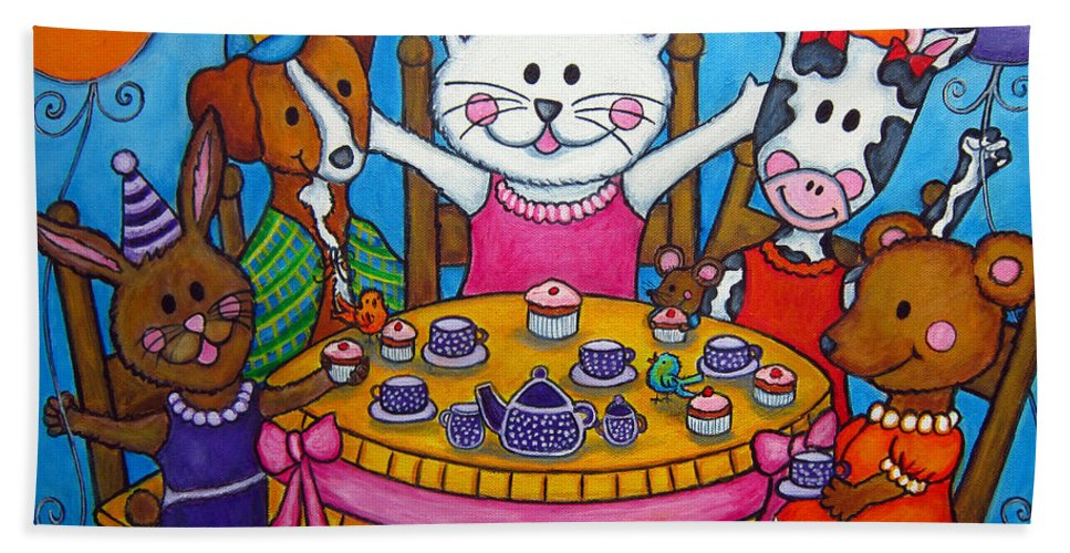 Kitten Hand Towel featuring the painting The Little Tea Party by Lisa Lorenz
