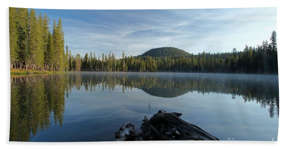 Summit Lake Bath Sheet featuring the photograph The Lone Log by Adam Jewell