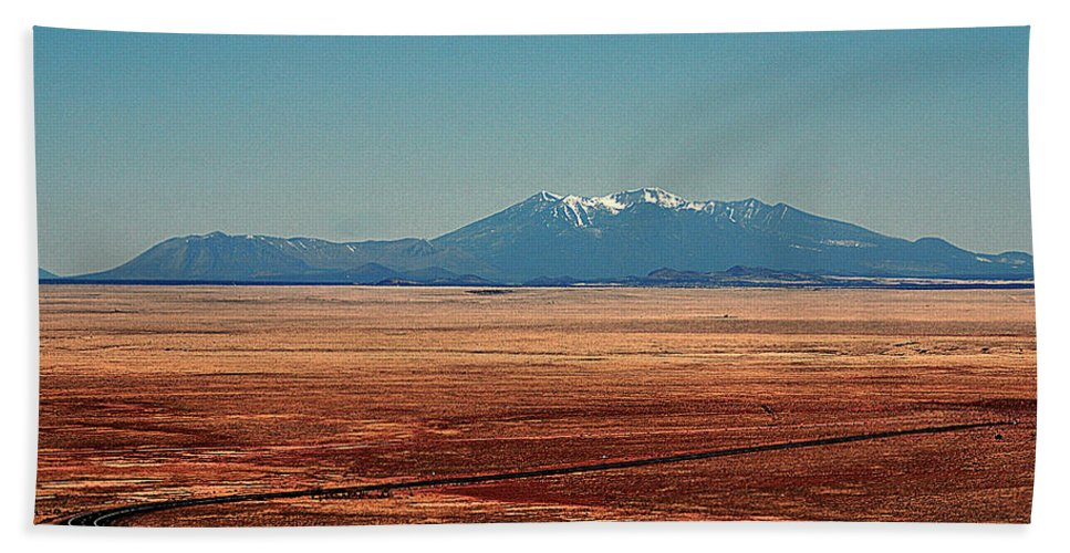 Meteor Crater Bath Towel featuring the photograph The Long Road To The Meteor Crater In Az by Susanne Van Hulst