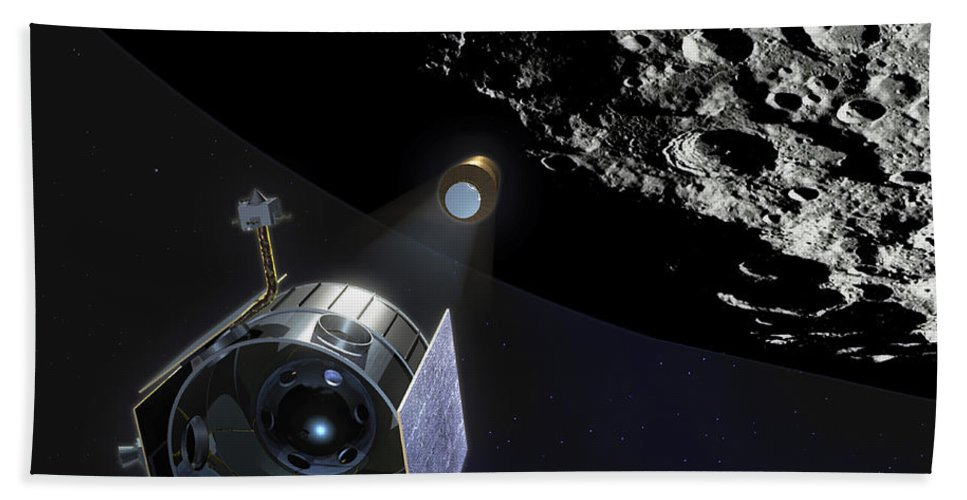 Spacecraft Bath Sheet featuring the digital art The Lunar Crater Observation by Stocktrek Images
