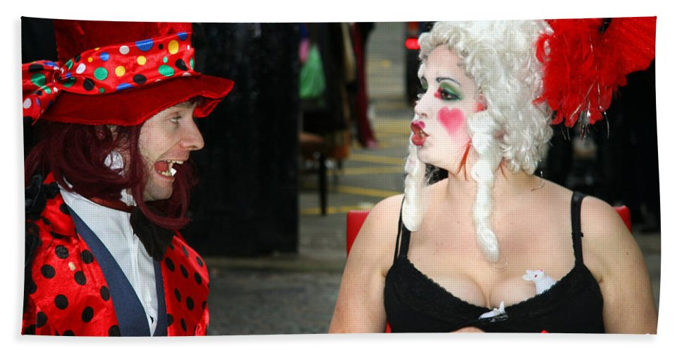 Tea Hand Towel featuring the digital art The Mad Hatter And The Red Queen by Heather Lennox