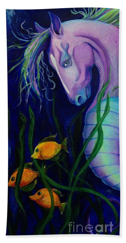 Seahorse Hand Towel featuring the painting The Magical One by Linda Dalziel
